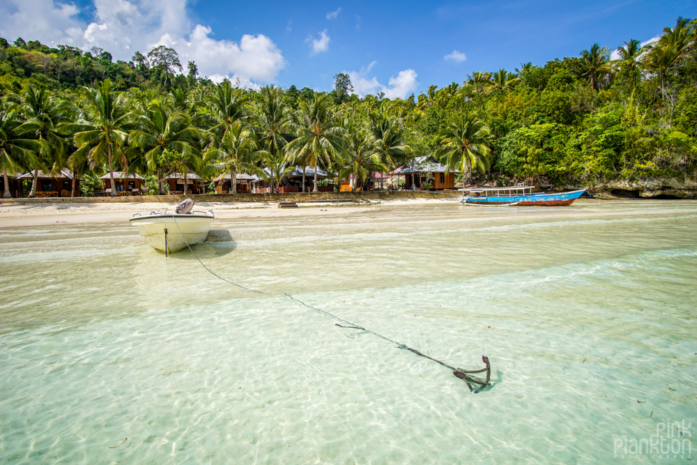 Sera Beach bungalows in the Togean Islands