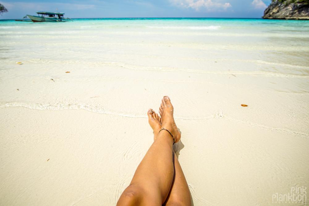 white sand of Sera Beach in the Togean Islands