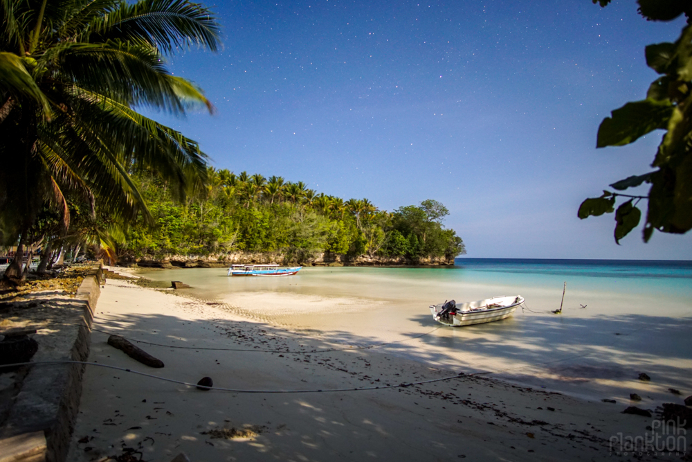 Sera Beach in the Togean Islands at night with stars