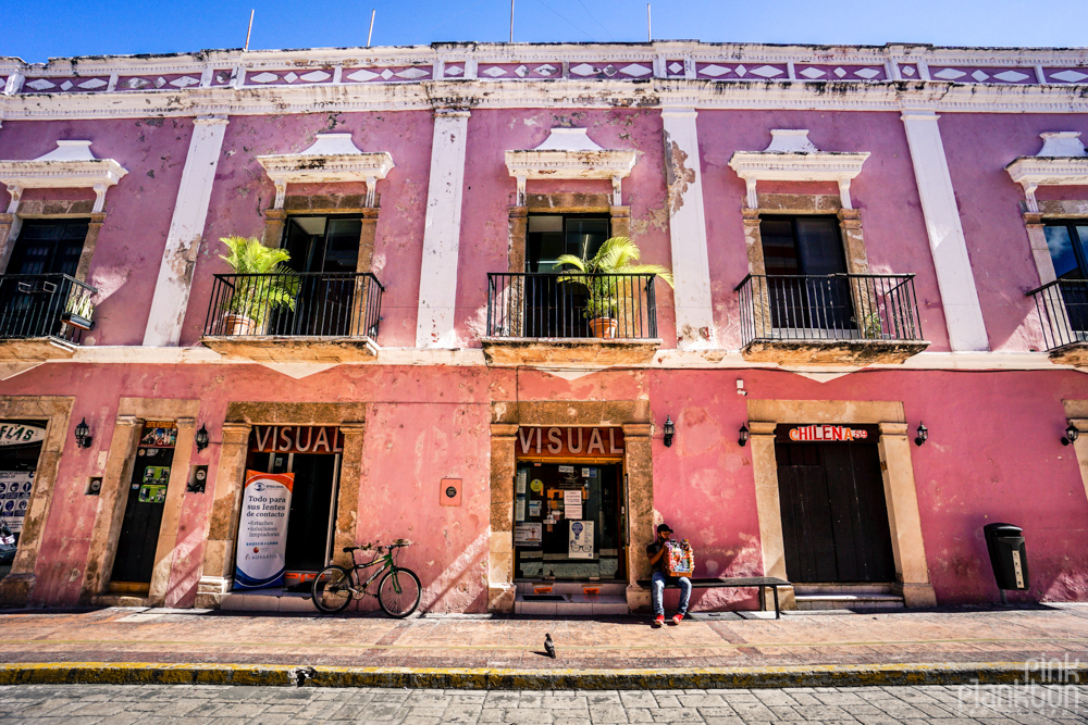 colorful pink building in Campeche