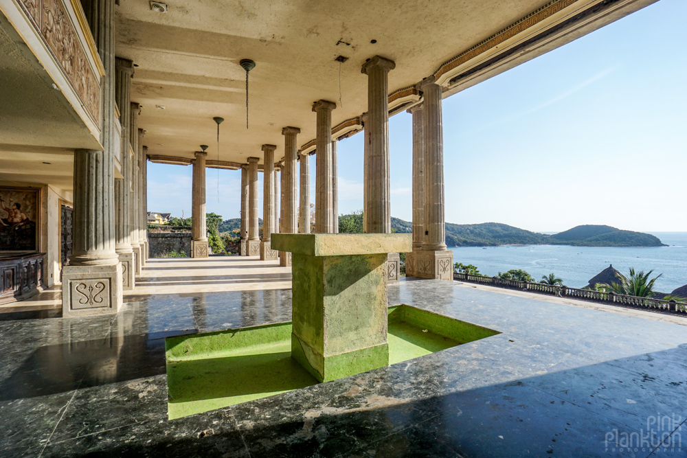 columns and ocean view from inside the abandoned Parthenon of El Negro