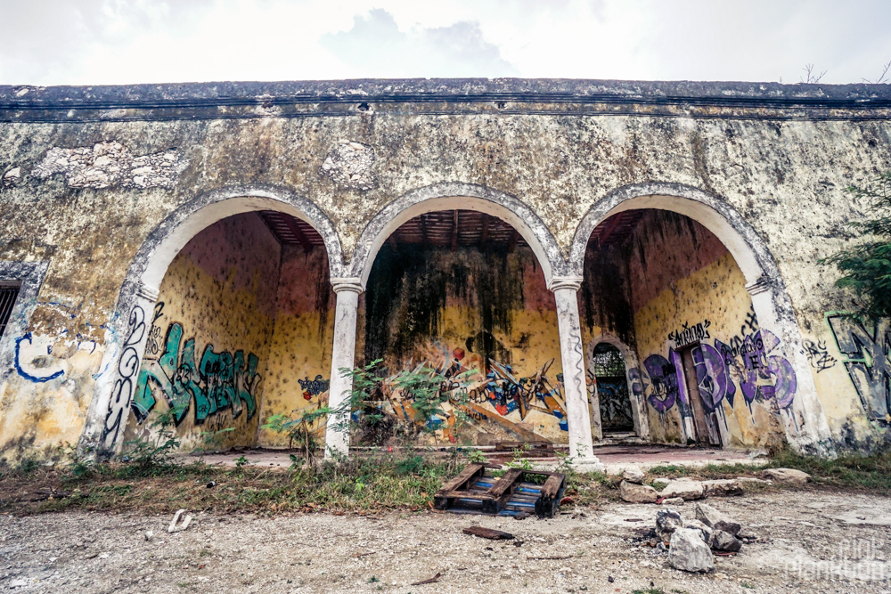 abandoned building with arches in Minsebalam ghost town