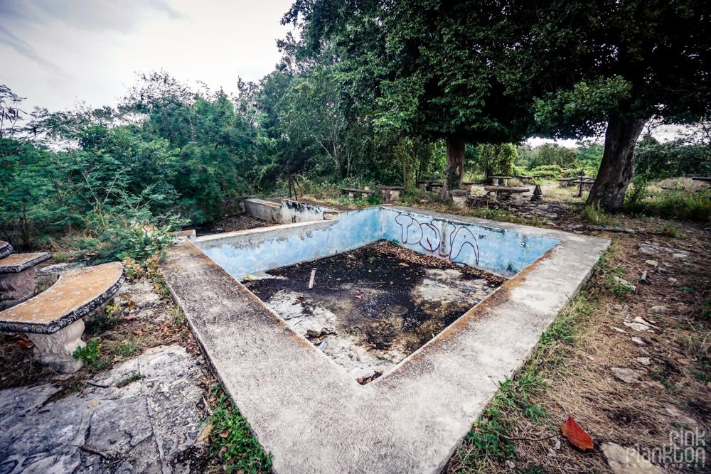 abandoned pool area of Minsebalam ghost town