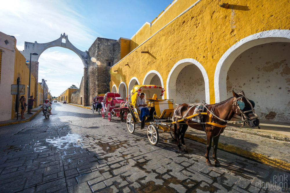 horse-drawn carriage on the streets of Izamal, Mexico