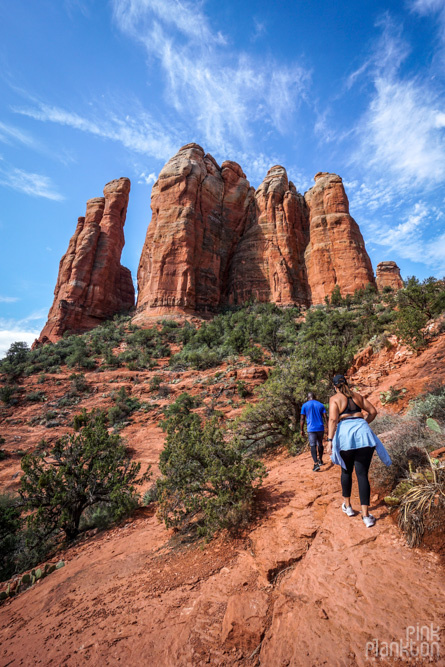 people hiking Cathedral Rock in Sedona