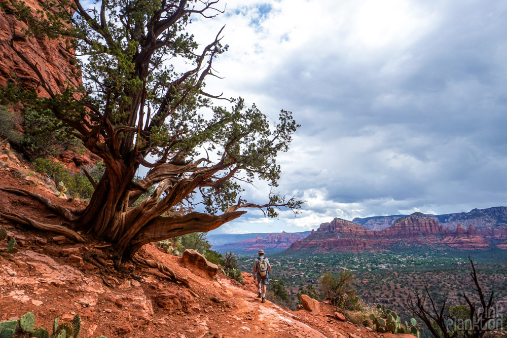 person hiking Cathedral Rock in Sedona
