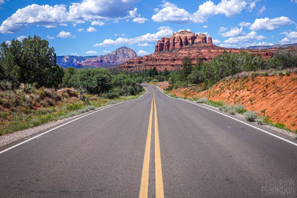 Sedona road with red rocks